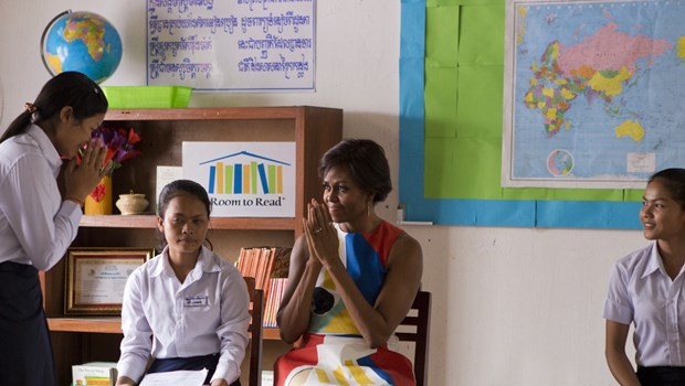 "The villagers tell her she's aiming too high, but First Lady Michelle Obama tells her: ""Ignore them."""